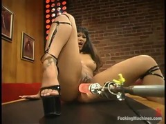 Chinese brunette in red dress and shoes with high heels, DragonLily is masturbating in the club
